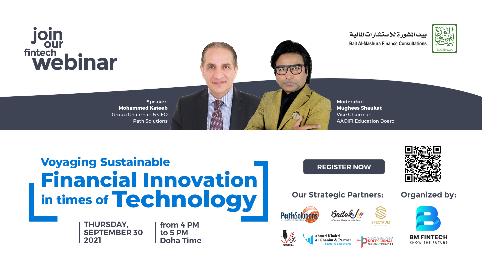 """Bait Al-Mashura announces its new Webinar entitled """"Voyaging Sustainable Financial Innovation in times of Technology"""""""